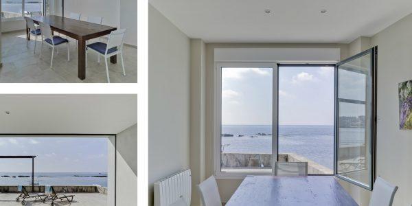 Marcaser - comedor, terraza y ventanal de casa en la playa